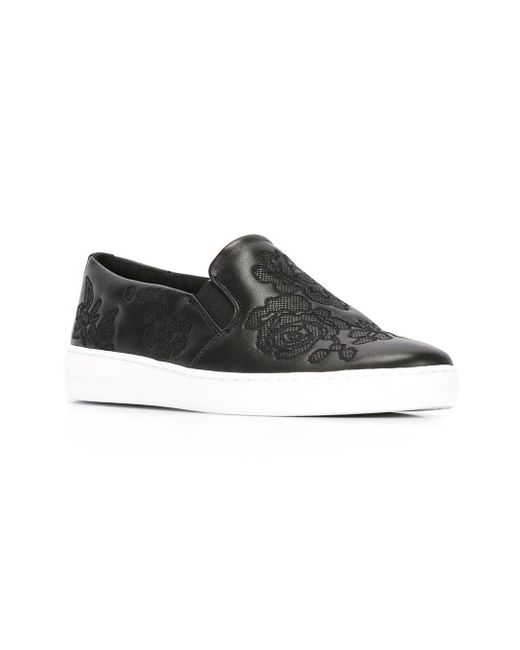 Michael kors embroidered rose sneakers in black lyst