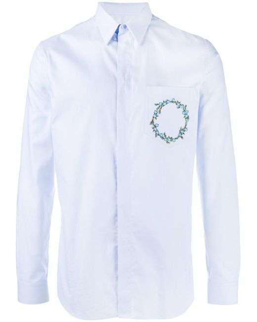 Givenchy floral crown embroidered shirt in blue for men lyst for Blue floral shirt mens