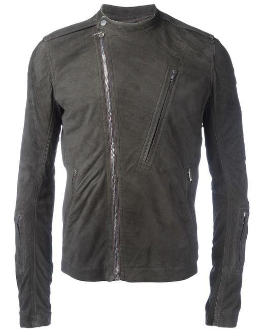 Rick Owens | Gray Band Collar Biker Jacket for Men | Lyst