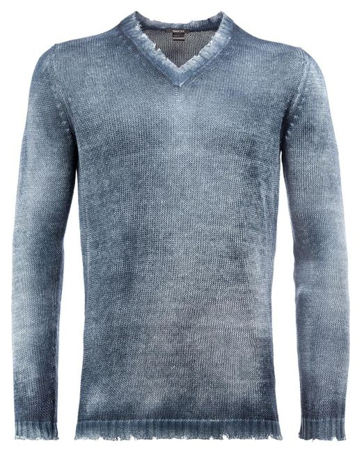 Avant Toi | Blue Distressed V-neck Jumper for Men | Lyst