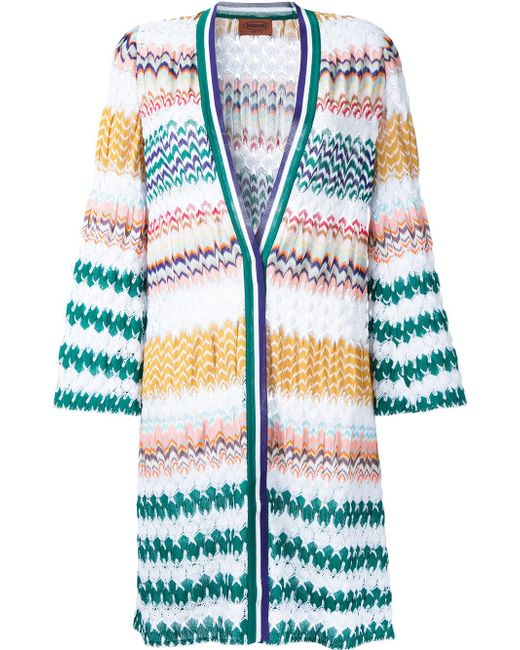 Missoni | White Zig-zag Pattern Open Cardigan | Lyst