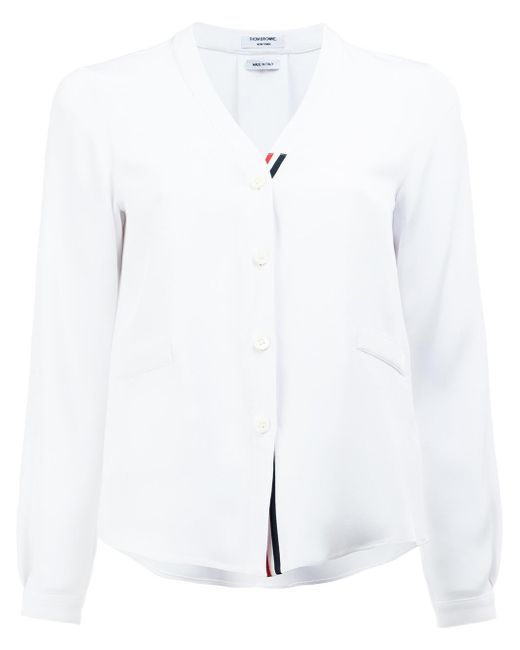 Thom Browne | White V-neck Shirt | Lyst