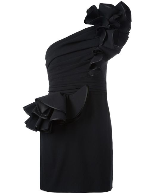 DSquared² | Black One Shoulder Rose Dress | Lyst