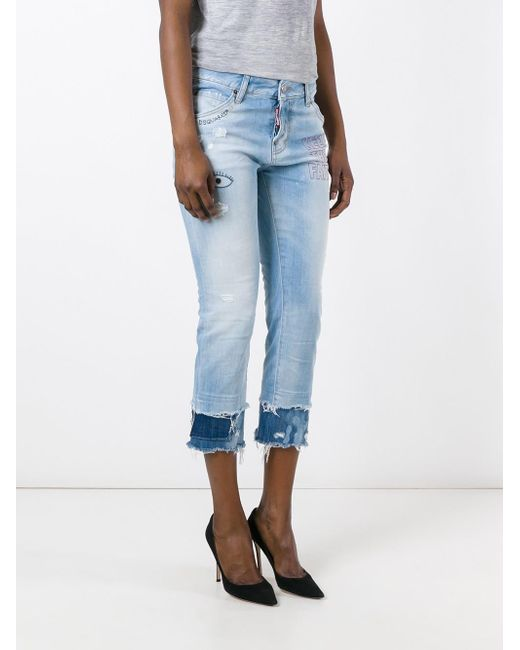 Dsquared² cool girl embroidered cropped jeans in blue lyst
