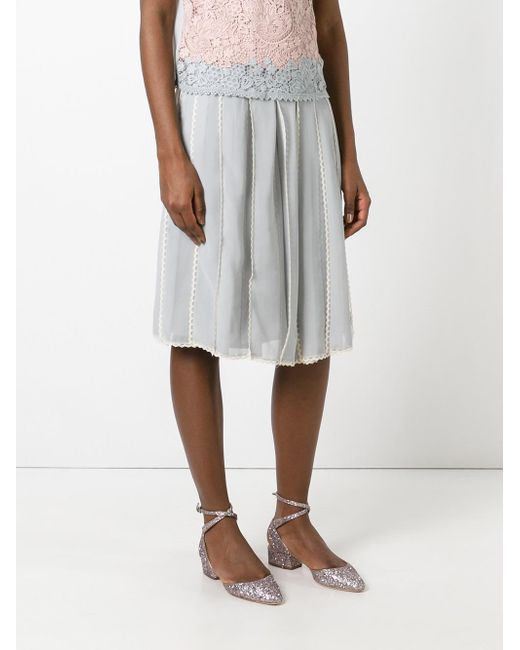 valentino pleated midi skirt in gray lyst