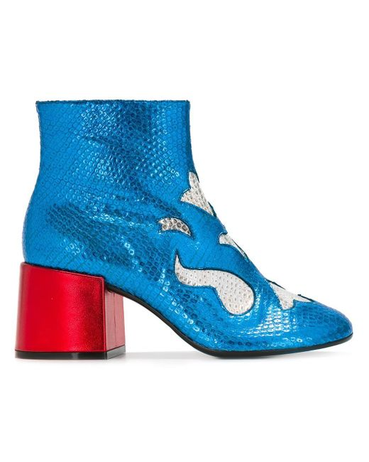 MM6 by Maison Martin Margiela | Blue Embossed Motifs Boots | Lyst