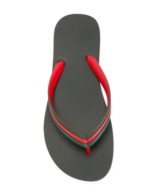 Gucci Web Strap Flip Flops In Green For Men Lyst