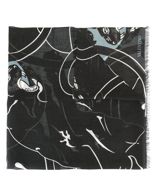 Valentino   Black Garavani Printed Scarf for Men   Lyst