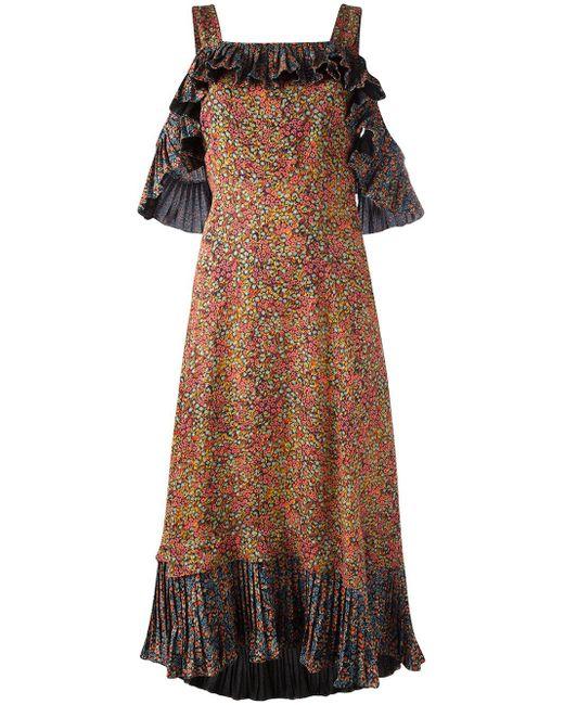 Philosophy Di Lorenzo Serafini | Black Pleated Ruffle Dress | Lyst