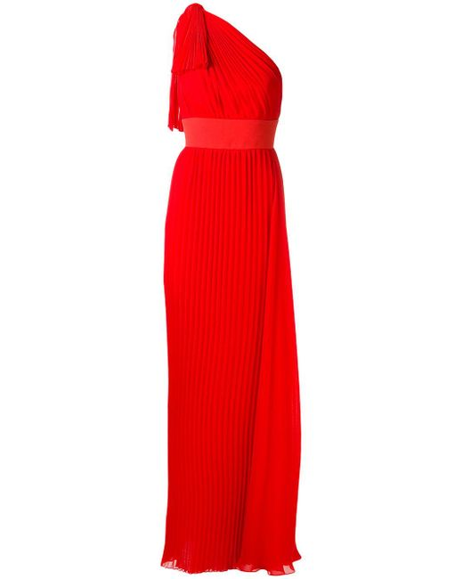 Elie Saab | Red One-shoulder Pleated Georgette Gown | Lyst