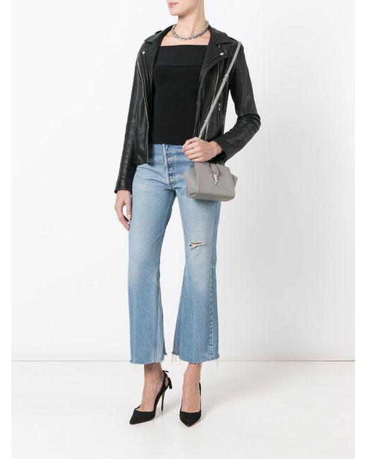 Saint Laurent Toy Ysl Cabas Crossbody Bag In Gray Lyst