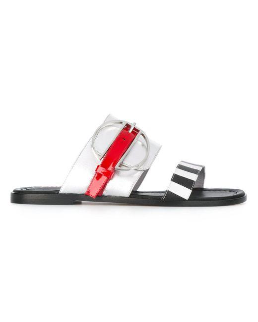 Pollini | Metallic Striped Slip-on Sandals | Lyst