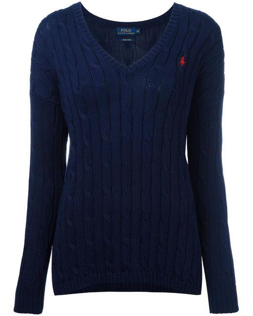 Polo Ralph Lauren   Blue Cable Knit V-neck Jumper   Lyst