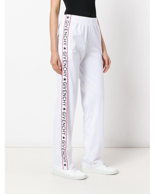 Givenchy Logo Stripe Track Pants In White Lyst