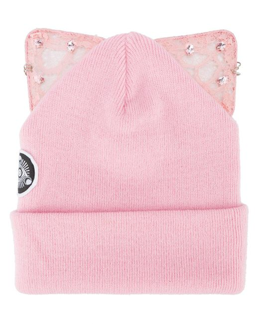 Silver Spoon Attire | Pink Bad Kitty Embellished Beanie With Cat Ears | Lyst