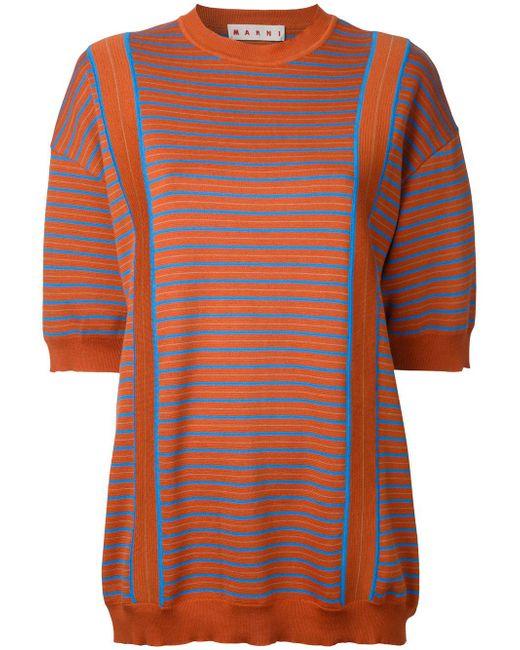 Marni   Orange Striped Knitted Sweater   Lyst