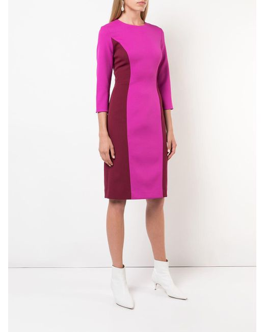 f93011e39f6 MILLY Colour Block Fitted Dress in Pink - Save 40.54054054054054% - Lyst