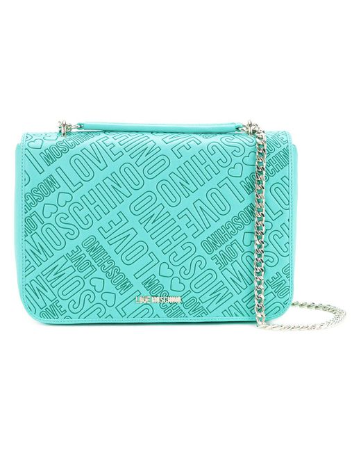 Love Moschino | Green Chain Strap Branded Bag | Lyst