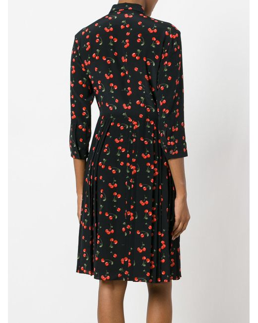 Chinti parker cherry pleated shirt dress in black lyst for Black pleated dress shirt