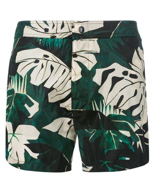 Moncler | Green Plant Print Swimming Trunks for Men | Lyst