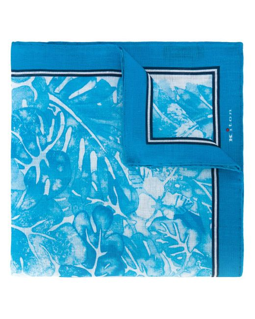Kiton | Blue Floral Print Pocket Square for Men | Lyst