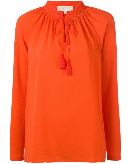 MICHAEL Michael Kors | Orange Embroidered Lace-up Detail Blouse | Lyst