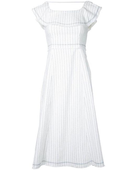 T By Alexander Wang | White Ruffle Trim Pinstriped Dress | Lyst