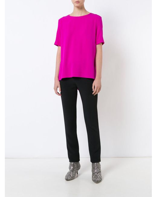 Adam lippes high low hem top in pink save 38 lyst for Adam lippes women s long sleeve vee t shirt