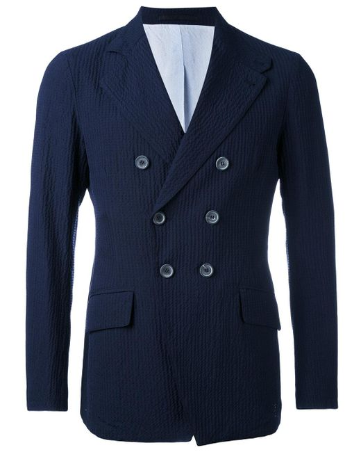 Giorgio Armani | Blue Double Breasted Blazer for Men | Lyst
