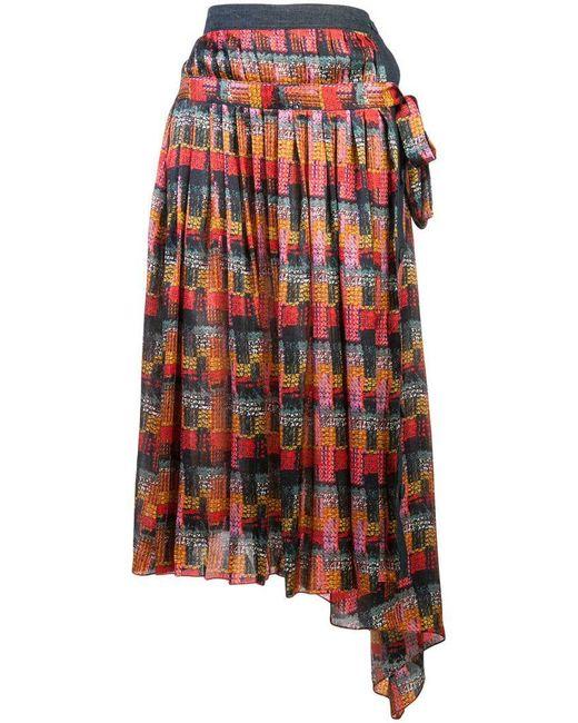 Adam Lippes - Red Printed Satin Midi Skirt - Lyst