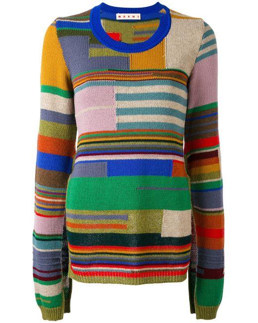 Marni | Green Block Stripe Cape Sleeve Sweater | Lyst