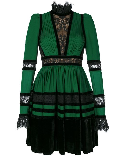 Elie Saab | Green Long Sleeve Mini Dress | Lyst