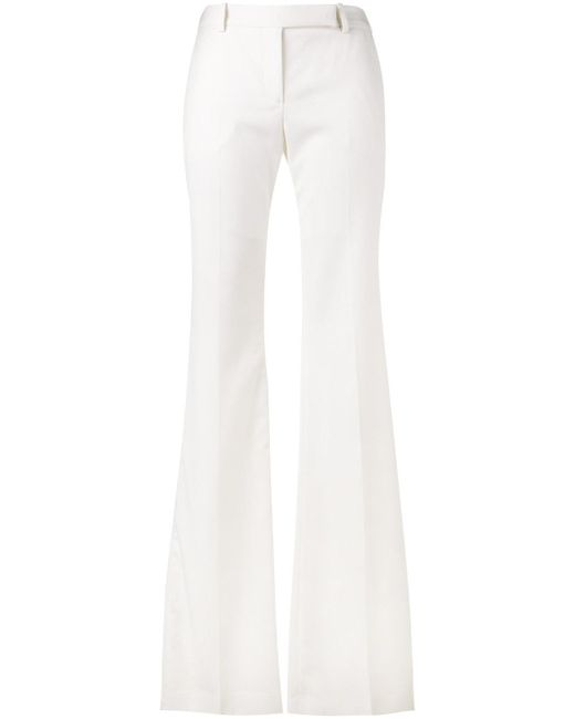 Alexander McQueen | White Mid-rise Kick-flare Wool-blend Cropped Trousers | Lyst