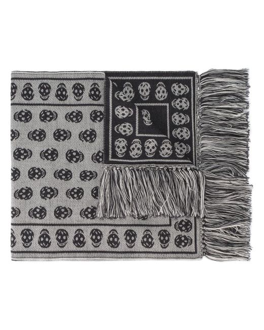 Alexander McQueen | Gray Skull Print Fringed Scarf for Men | Lyst
