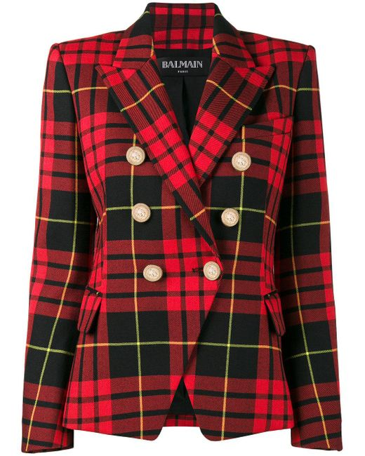Balmain   Red Cropped Tartan Blazer   Lyst