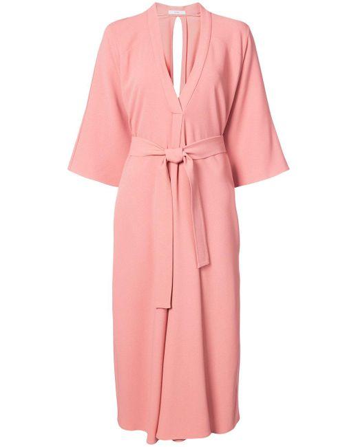 TOME | Pink Tie Waist Robe Dress | Lyst