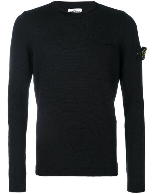 Stone Island | Black Crew Neck Sweatshirt for Men | Lyst