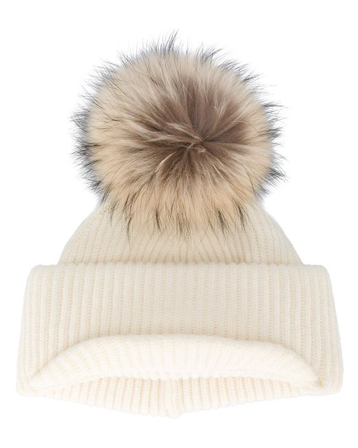 Inverni | Natural Neutral Ribbed Cashmere Hat With Visor And Fur Pom Pom | Lyst