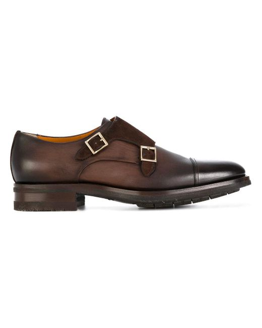 Santoni | Brown Gold Buckle Monk Shoes for Men | Lyst