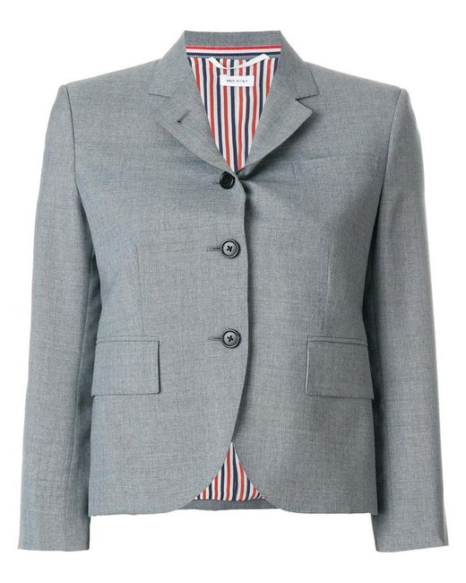 Thom Browne | Gray Short Structured Blazernotched Lapels | Lyst