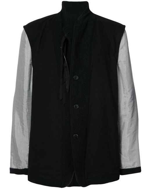 Ann Demeulemeester | Black Contrast Sleeve Coat for Men | Lyst