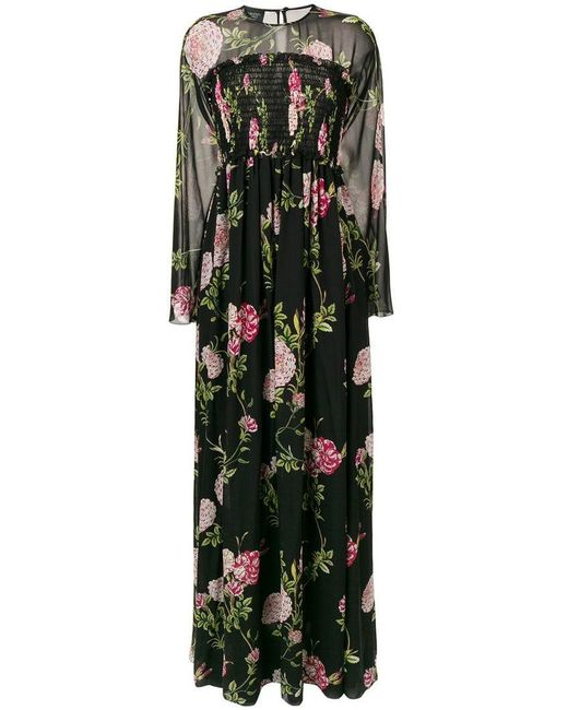 a2e508ac23a5 Giambattista Valli - Black Long Floral Ribbed Gown - Lyst ...