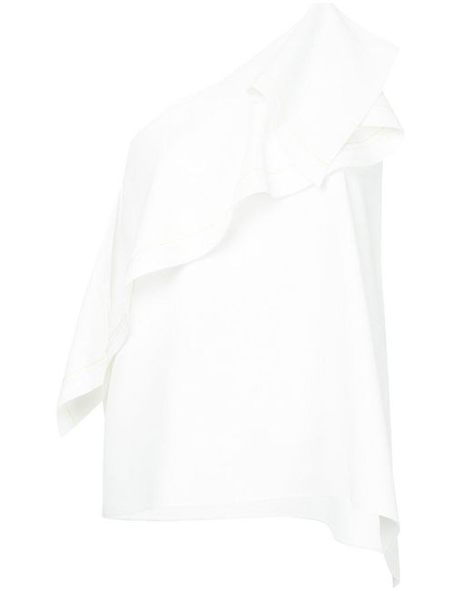 Comme Moi - White Asymmetrical One Shoulder Ruffle Blouse - Lyst