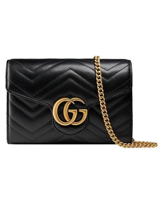 989972700e4 Lyst - Mini sac à bandoulière GG Marmont matelassé Gucci en coloris Noir