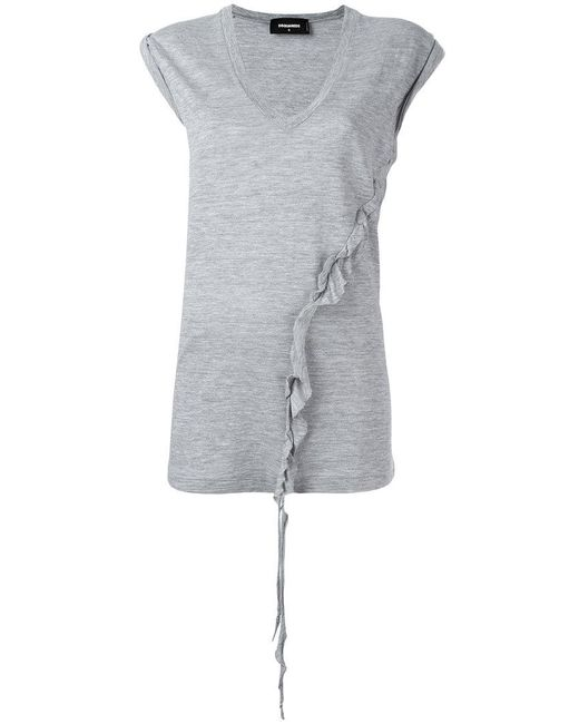 DSquared² - Gray Asymmetric Twisted T-shirt - Lyst