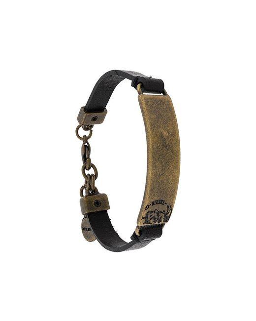DIESEL | Black Metal Detail Bracelet for Men | Lyst