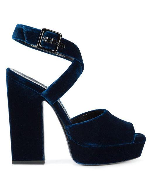 Saint Laurent | Blue Cross Strap Wedge Sandals | Lyst