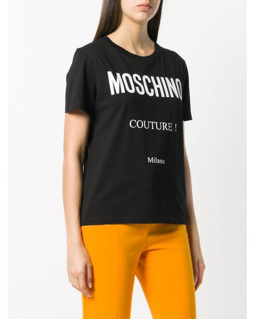 e9e0dd93e Lyst - Moschino Printed Logo T-shirt in Black - Save 62%