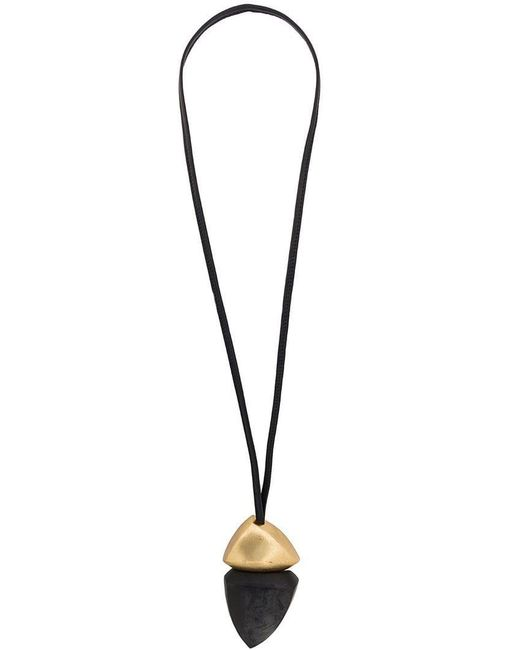 Monies - Black Painted Drop Pendant Necklace - Lyst