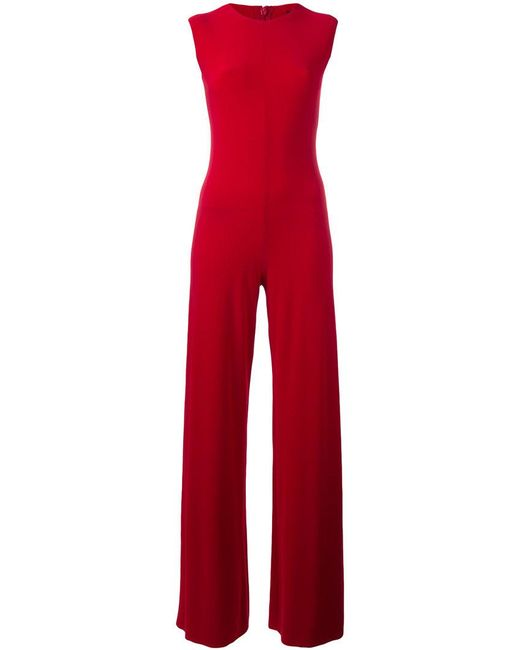 Norma Kamali - Red Fitted Jumpsuit - Lyst
